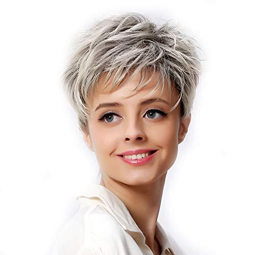 SDJIEMN 6 Synthetic Short Blonde Hair Wig Dark Root Female Pixie Cut Wig African American Wig for Women Cosplay Wig Halloween]()