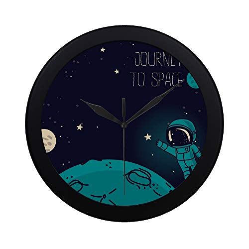 JXCSGBD Modern Simple Cosmic Cute Doodle Astronauts Floating Pattern Wall Clock Indoor Non-Ticking Silent Quartz Quiet Sweep Movement Wall Clcok for Office,Bathroom,livingroom Decorative 9.65 ()