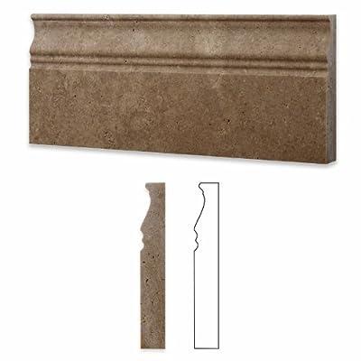 "Noce Travertine Honed 5 X 12 Baseboard Trim Molding - 4"" Sample"