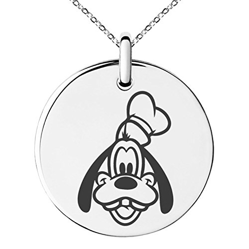 Stainless Steel Disney Goofy Engraved Small Medallion Circle Charm Pendant Necklace Goofy Jewelry
