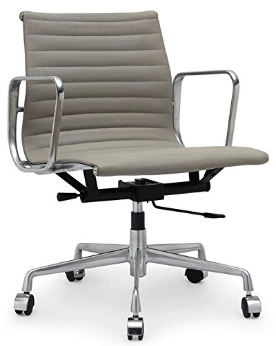 Aluminum Group Leather Ribbed Back Management Chair - Grey (Aluminum Group Chair)