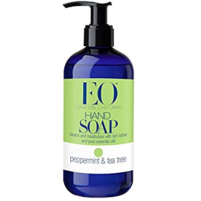 EO Botanical Peppermint and Tea Tree Liquid Hand Soap With Peppermint and Tea Tree Essential Oils, Chamomile, Calendula, Aloe and White Tea Extracts and Vitamin E, 12 oz (Pack of 2)