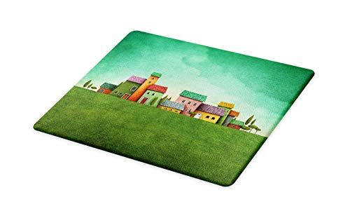 Ambesonne Mural Cutting Board, Village of Abstract Shaped Colorful Housesnd Bushy Trees on Greenery Grass Field, Decorative Tempered Glass Cutting and Serving Board, Large Size, Multicolor