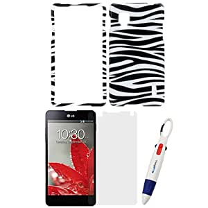 GTMax Black White Zebra Rubberized Hard Case + Clear Screen Protector for LG Optimus G LS970 with *4-Color Clip Pen*