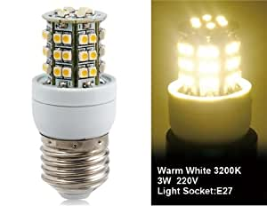 3528-48L-220V 3W E27 48x3528SMD Warm White LED Corn Bulb without Lampshade
