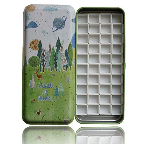HOME AID Artist 40 Pcs Half Pans with Magnet for Watercolor Palette Gouache Painting Travel Tin Box Color Refills (Artists Palette Magnet)