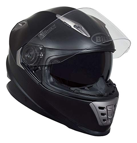 Bilt Raptor Drop Down Sun Shield Vented Air Flow DOT Sport Touring Street Bike Motorcycle Full Face Helmet - Matte Black LG