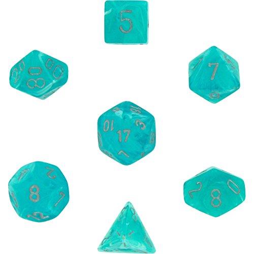 Chessex Dice: Polyhedral 7-Die Cirrus Dice Set - Aqua /silver