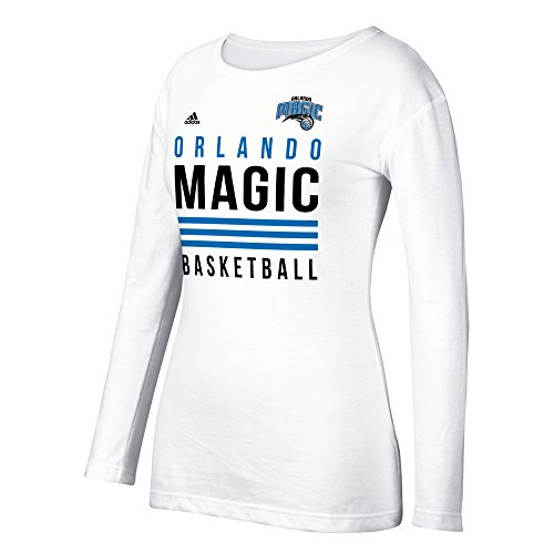 fan products of NBA Orlando Magic Women's 3 Stripe Stack Long Sleeve Crew Tee, Medium, White