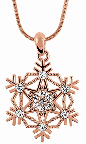 (Crystal Snowflake Pendant Necklace Winter Bridal Fashion Christmas Holiday Jewelry Gifts for Girls, Teens, Women (Rose Gold)