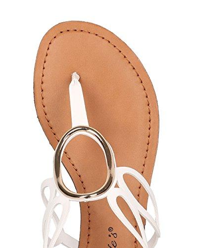 Breckelles Dames T-strap Uitgesneden Sandaal - Mini Wig Sandaal - O Ringsandaal - Hk97 Door Wit Kunstleer