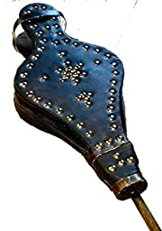 Fair Trade Large Capacity Traditional Hand Made Moroccan Leather & Wood Bellows 45cm Long (Cosmetic damage)