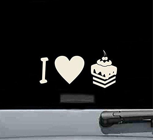 I love cake desserts Vinyl Decal Sticker (BEIGE) - Beige Dessert