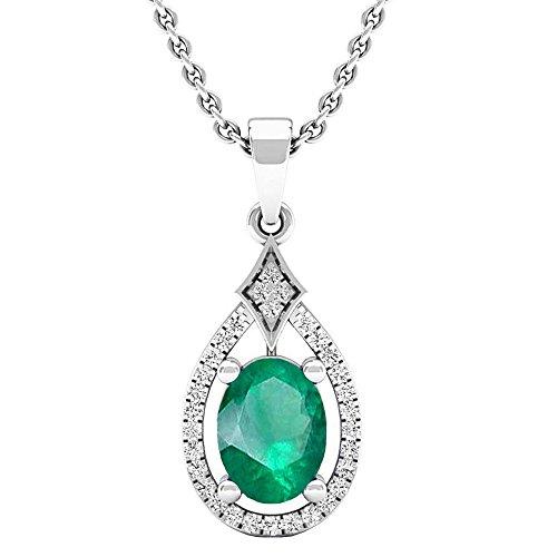 Dazzlingrock Collection 10K 8X6 MM Oval Lab Created Emerald & Round Diamond Ladies Pendant, White Gold