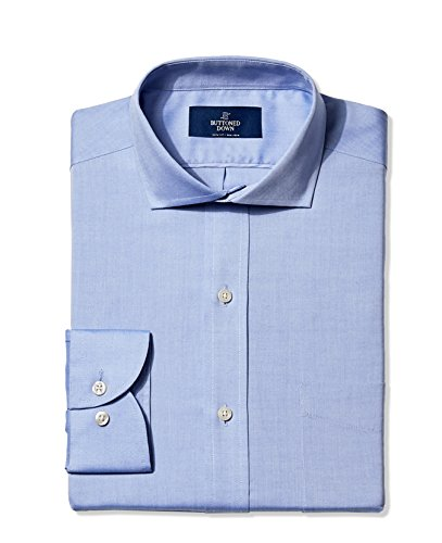 Buttoned Down Men's Non-Iron Slim-Fit Cutaway-Collar Solid Dress Shirt, Blue, 15