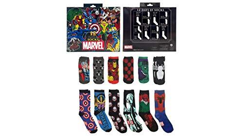 Marvel 12 Days Of Socks Advent Calendar Gift Set (Mens ()