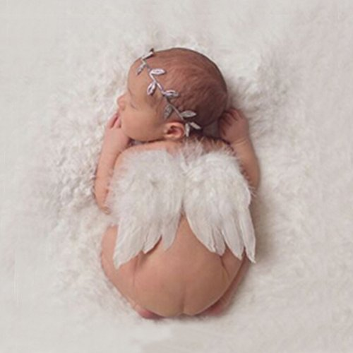 Handmade Baby Photography Props Costume Baby Angel Feather Wing With Olive Leaf Headband Photo Props Infants Photographic Outfit Toddlers Newborn Wraps Flower Backdrop Background by -