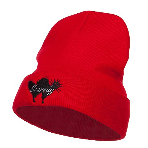Halloween Scaredy Cat Embroidered Long Beanie - Red OSFM