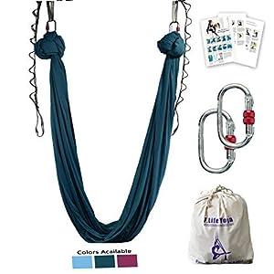 Aerial Yoga Hammock 5.5 Yards Premium Aerial Silk Fabric Yoga Swing for Antigravity Yoga Inversion Include Daisy Chain,Carabiner and Pose Guide
