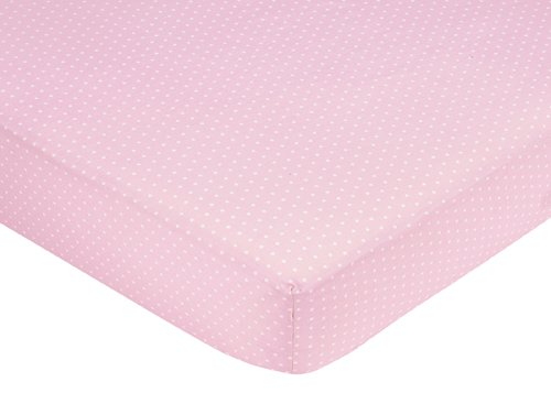 Sweet Jojo Designs Mod Dots Pink and Brown Fitted Crib Sheet for Baby and Toddler Bedding Sets - Mini Dot ()