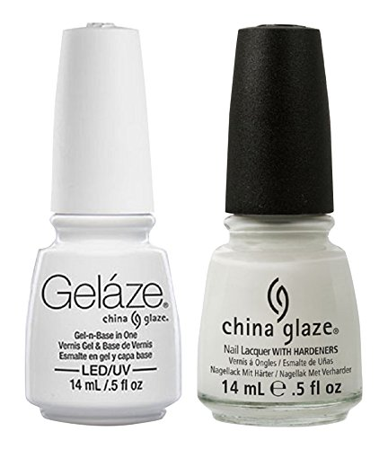 China Glaze Gelaze Tips and Toes Nail Polish, White on White, 2 Count