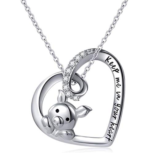 AZfasci 925 Sterling Silver Pig Necklace Women Girls Cute Birthday Gift Keep Me in Your Heart Zirconia Pendant (Pig Heart ()