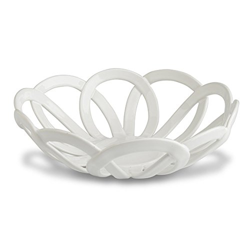 Intrecci White Round Basket Italian Home Décor and Dinnerware Handmade in Italy