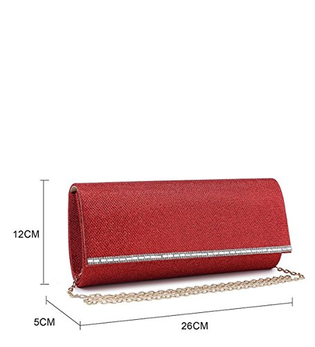 Red Foldover Occasion N20 Dressy Womens Prom Ladies Evening Party Hand Clutch Shimmer Bags qwOxE17