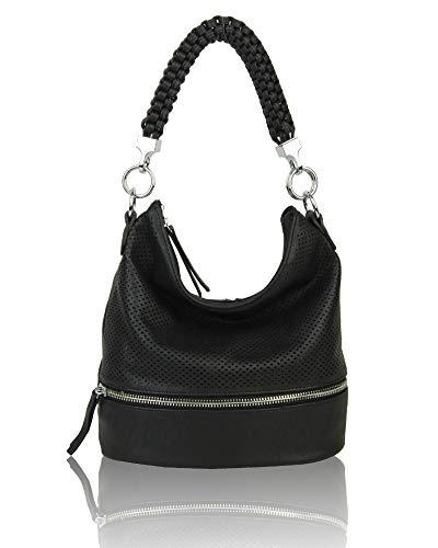Shoulder Braided Medium Shopper Bag Hobo Leather Handbag Tote Women's Black Crossbody 8EqdXxg8