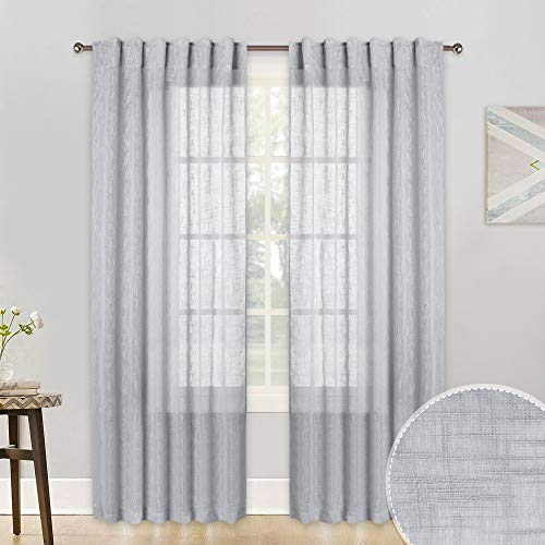 (RYB HOME Semi Sheer Curtains for Living Room, Rod Pocket & Back Loops Top with Linen Texture Pattern Voile, Light Reduce Window Curtains for Bedroom, Dove Grey, Wide 52 x)