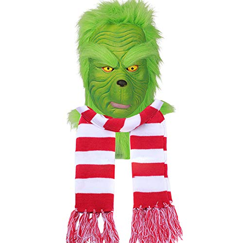 Adult Green Mask Helmet Santa Scarf Costume Props for Christmas Cosplay (Mask with Scarf)]()