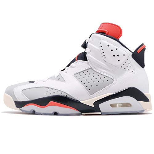 Nike Jordan Retro 6 - Men's (10, White/Infrared 23/Neutral Grey/White/Sail) (Men Jordan Shoes Size 6)