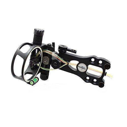 (SAS 5 Pins .019 Fiber Optic Bow Sight with Micro Adjustments and LED Light (Black))