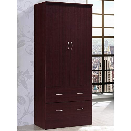 Pemberly Row 32'' Wide 2 Door Wardrobe Armoire Closet with 2 Drawers in Mahogany