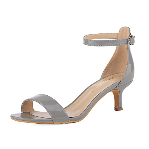 - Women's Heeled Sandals Ankle Strap High Heels 5CM Open Toe Low Sandals Bridal Party Shoes Patent Leather Grey Size 6