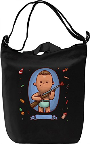 Baby with a gun Borsa Giornaliera Canvas Canvas Day Bag| 100% Premium Cotton Canvas| DTG Printing|