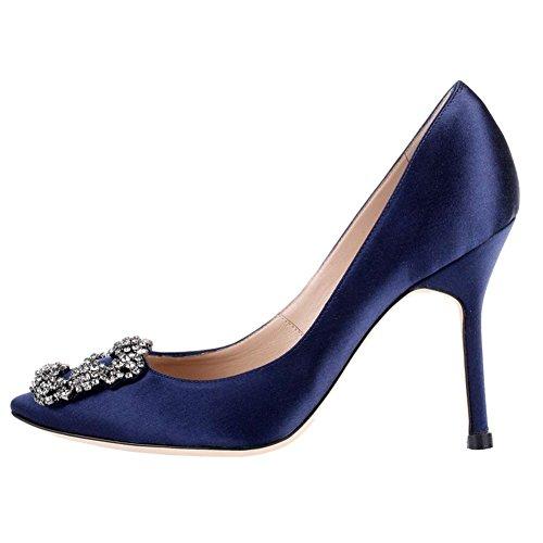 Arc-en-Ciel los zapatos de las mujeres de las bombas de tacón alto del dedo del pie redondo Azul