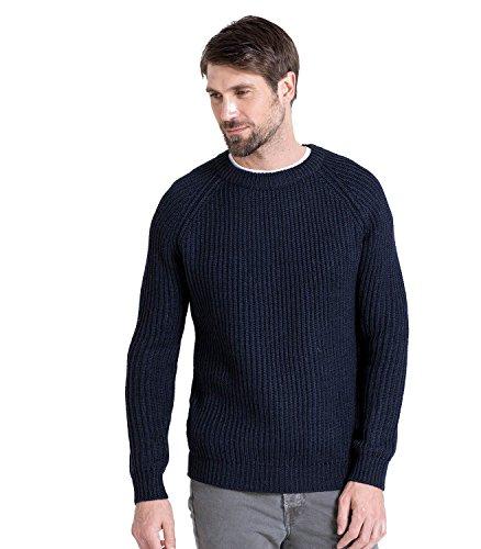 WoolOvers Gerippter Seemanns-Pullover aus reiner Wolle für Herren Navy, L