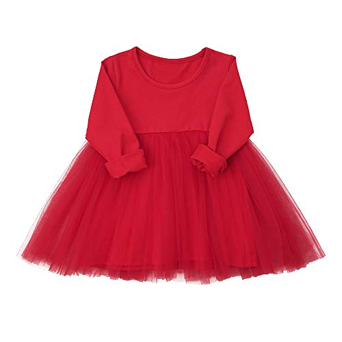 Baby Girls Black Dress Tutu Long Sleeves Ruffle Tulle 9-48m (9-12 Months, Red) -