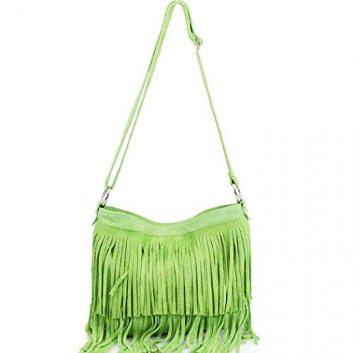 Green 12 Handbags Shoulder Women's Crossbody Tassle Real LeahWard Bag Leather Neon w6p7Uqvv