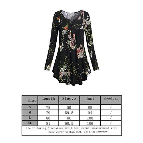 Camicetta Flower V Flower137 Ragazze Lunga Scollo Black Donne Stampa Bodbii Pullover Le Manica Top A Con 3Aj4R5qL