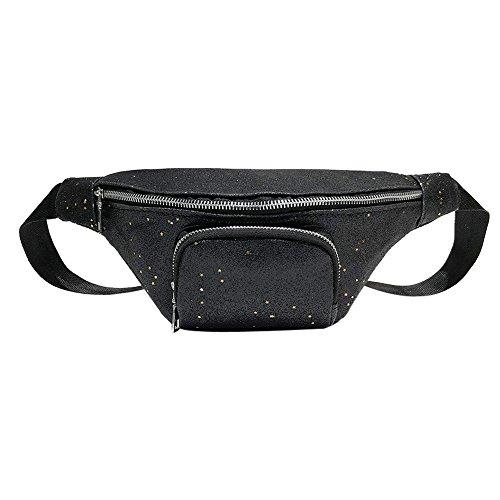 Pack Bling Chest Waist Black Sling Leather Pockets Shoulder Bag Travel Zipper Hip Bag Bag Lonshell Classic Belt Fanny Bum Sequins Holiday Storage Bag Bumbag Funky Adjustable EI0qxR