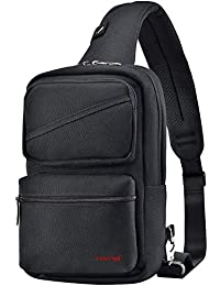 Sling Backpack Crossbody Pack Bag One Strap Large Anti-Theft Pocket Padded Water Resistant Chest Bag Men Black for 9.7in Tablet