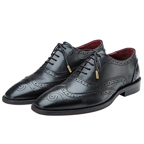 Lethato Brogue Oxford Handcrafted Men's Genuine Leather Lace up Dress Shoes with Golden Color Metal Aglets Shoelace Tips - (Black Genuine Leather Shoes)
