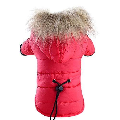 BingYELH Pet Snowsuit Windproof Faux Fur Puppy Parka Coat Adjustable Dog Winter Jacket with Hood Dog Warm Outwear ()