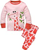 Girls Pyjamas Set Toddler Clothes 100% Cotton Sleepwear Animal Printed Pink Giraffe Nightwear Winter Long Sleeve PJs 2 Piece Outfit for Kids Age 2-3 Years