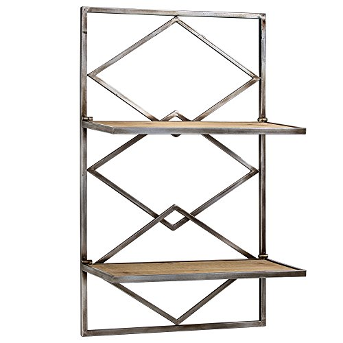 American Art Decor Wood and Metal Hanging Shelf Rack For Sale