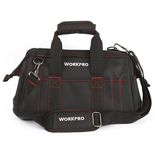 WORKPRO 16-inch Wide Mouth Tool Bag with Water Proof Molded Base - Wide Mouth Tool Organizer