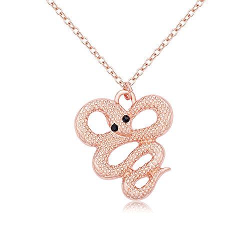 TUSHUO Fashion Jewelry Gold Tone Snake Shaped Pendant Necklace for Girls or Kids (Rose gold) (Necklace Snake Gold Rose)
