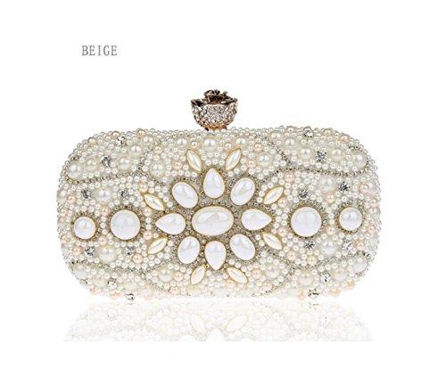 GSHGA Womens Embrague Bolsos De Hombro Bolsa De Mensajero De La Noche Bolsa De Mini Bolso De Perlas Cadena De Diamantes,Champagne Beige
